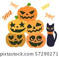 잭오 랜턴과 검은 고양이 사탕 57290271