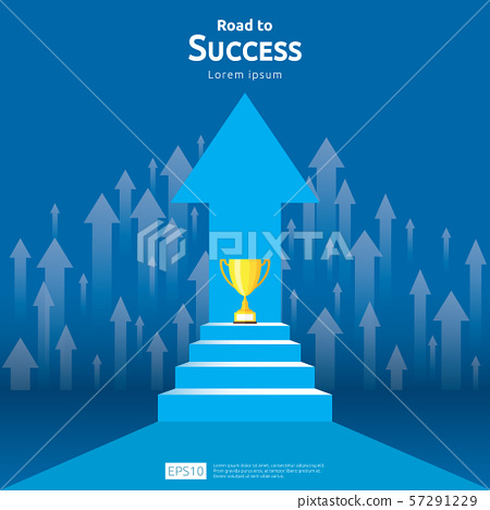 business concept with stair and trophy cup. arrow 57291229