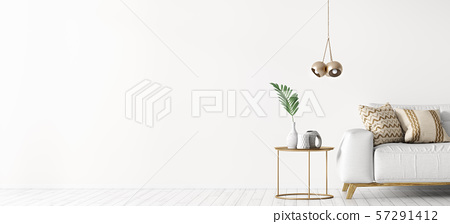 Interior of living room with white sofa and coffee 57291412