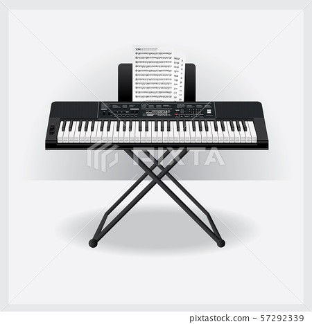 Keyboard instrument with Song note Vector Illustration 57292339