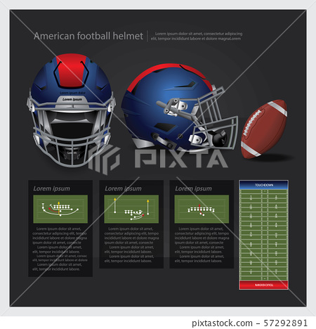 American football helmet with team plan vector illustration 57292891