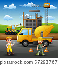 Construction worker at work with crane and machine 57293767