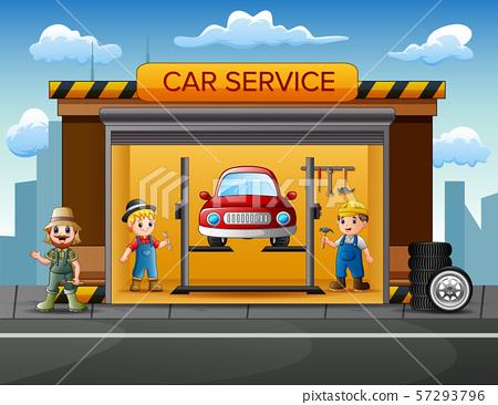 Cartoon car repair garage with repairman, car 57293796