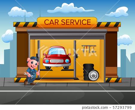Cartoon a pig mechanic in the car repair garage 57293799