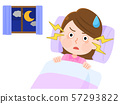 Insomnia: Troubled Woman 03 Cannot Sleep Sleeping Eyes Illustration 57293822