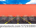 Red brick wall hinder shopping cart. 57293880
