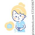 복통 참을 젊은 여성 손으로 그린 일러스트 57293967