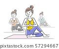 插圖素材:女人,瑜伽,姿勢 57294667
