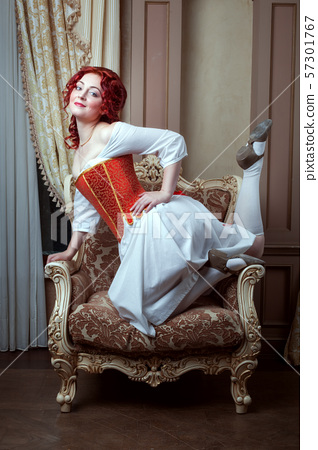 Portrait of a beautiful woman in Victorian style. 57301767
