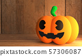 The pumpkin jack on wood background for halloween concept 3d rendering. 57306087