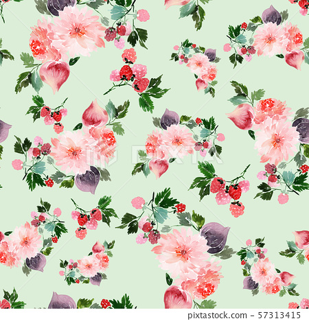 Seamless summer pattern with watercolor flowers 57313415
