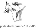 Giraffe on Africa map background with Kilimanjaro 57315505