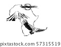 Vulture on Africa map background with Kilimanjaro 57315519