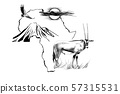 Gemsbok antelope (Oryx gazella) on Africa map 57315531