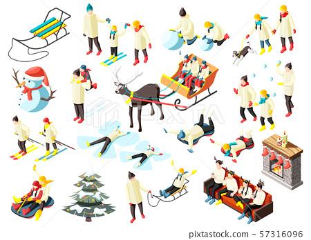 Family Winter Holidays Isometric Icons 57316096