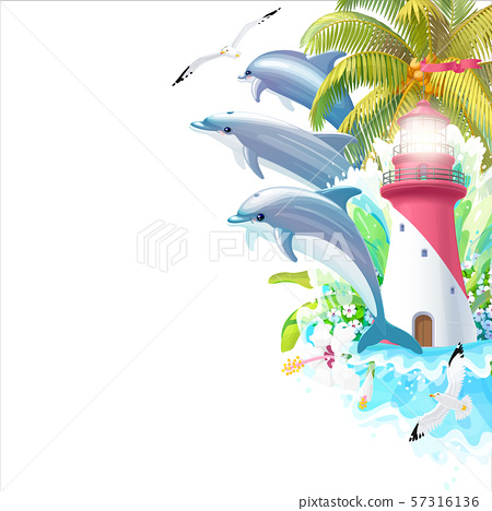 vector edge Sea border background 57316136
