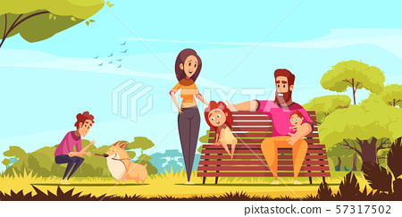 Family Active Holidays Cartoon Illustration 57317502