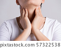 Sore Throat.  Woman Hand Touching Her Ill Neck 57322538