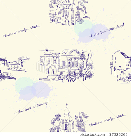 Seamless pattern with Saint Petersburg Sketches. Background with Streets 57326263