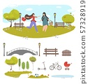 Couple of Girl Friends Walking in Summer City Park 57328919