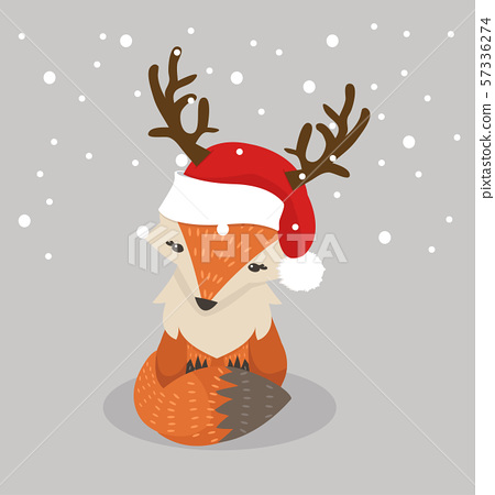 Cute fox cartoon with red hat 57336274