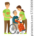 Disabled Pensioner, Volunteering People Vector 57338069
