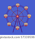 Amusement park Ferris wheel flat color vector icon 57339596