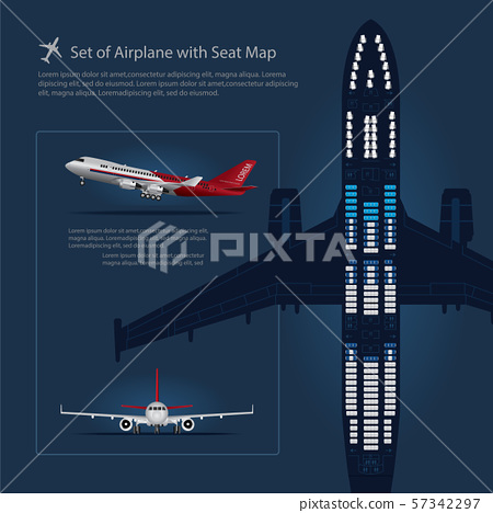 Set of Airplane with Seat Map Isolated Vector Illustration 57342297