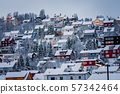 Hillside houses in Tromso in winter 57342464