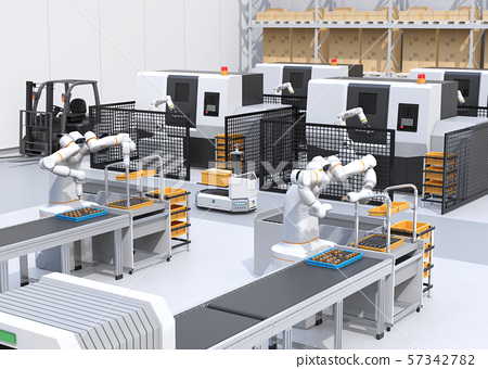 Smart factory with collaborative dual-arm robot, AGV automatic guided vehicle, machining center, and automatic driving forklift 57342782