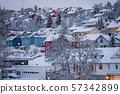 Hillside houses in Tromso in winter 57342899
