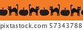 Seamless vector border Halloween black cats and pumpkins. Repeating border cute hand drawn cats 57343788