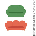 Empty Soft Place, Color Sofa, Isolated Sit Vector 57349207