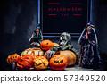 Halloween background. Spooky pumpkin with dark. Halloween design with copy space. 57349520