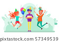 Birthday Celebration Partying People Friends Vector 57349539