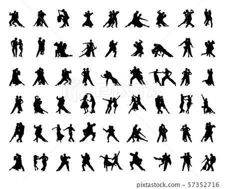 Black silhouettes of tango players 57352716
