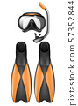 diver equipment, snorkel mask and flippers 57352844