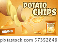 promotion banner with crispy potato chips 57352849