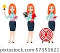 Young beautiful redhead business woman 57353621