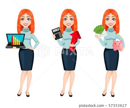 Young beautiful redhead business woman 57353627