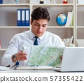 Businessman operator traveling agent working in the office 57355422