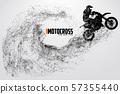 Motocross drivers silhouette. Vector illustration 57355440