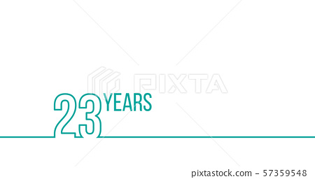 23 years anniversary or birthday. Linear outline 57359548