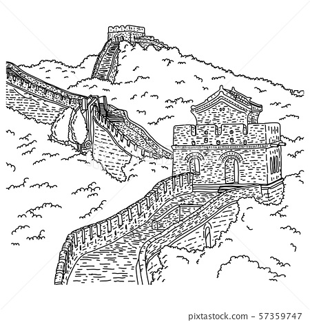 Great wall of china vector illustration sketch 57359747