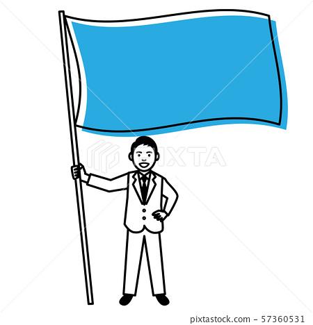 有旗子的年輕人 57360531