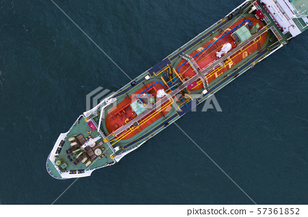 Aerial view of gas storage tank on vessel 57361852