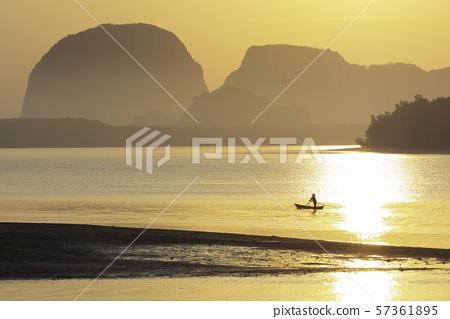 Silhouette morning view in Krabi, Thailand 57361895