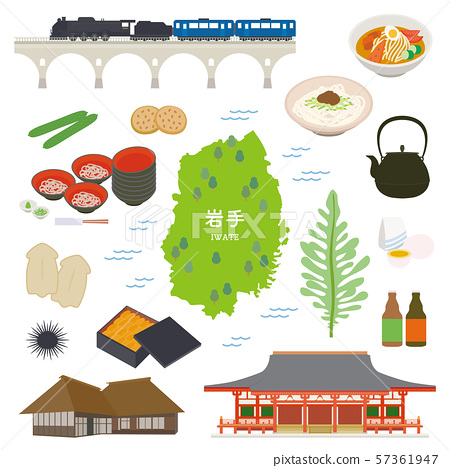 Iwate Prefecture special product sightseeing illustration set 57361947