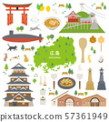 Hiroshima Prefecture special product sightseeing illustration set 57361949