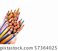 Bunch of colorful watercolor pencils on white copy space. 57364025